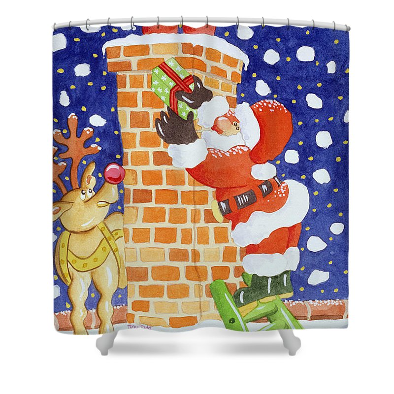 Present From Santa Shower Curtain featuring the painting Present From Santa by Tony Todd