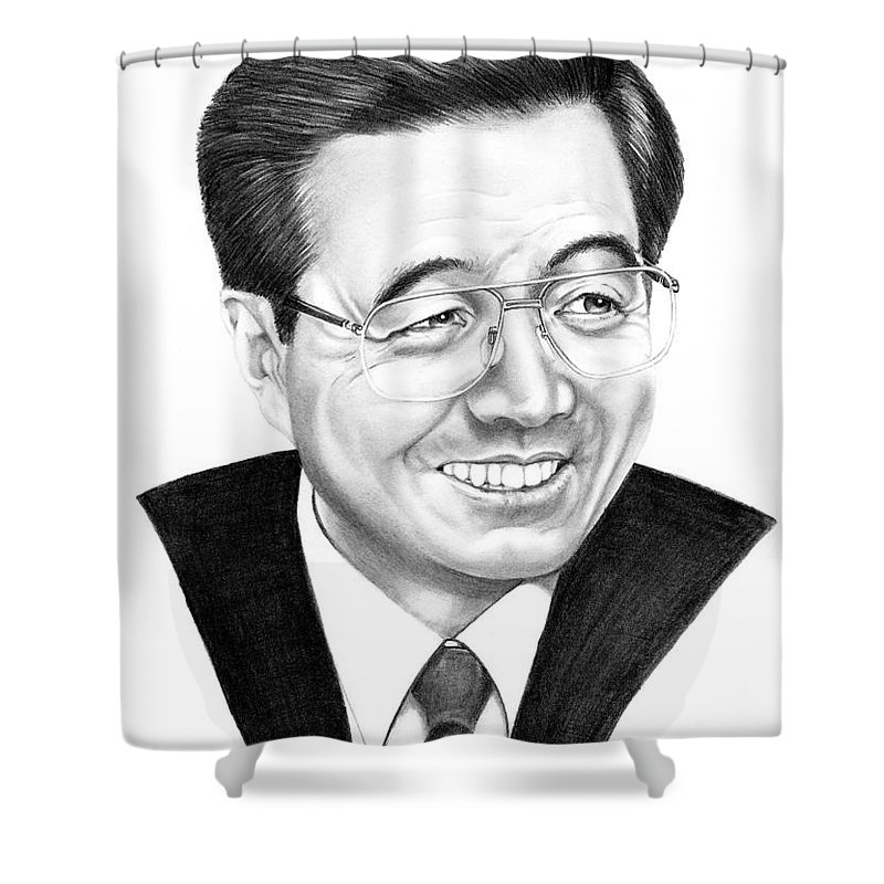 Drawing Shower Curtain featuring the drawing President Hu Jintao by Murphy Elliott