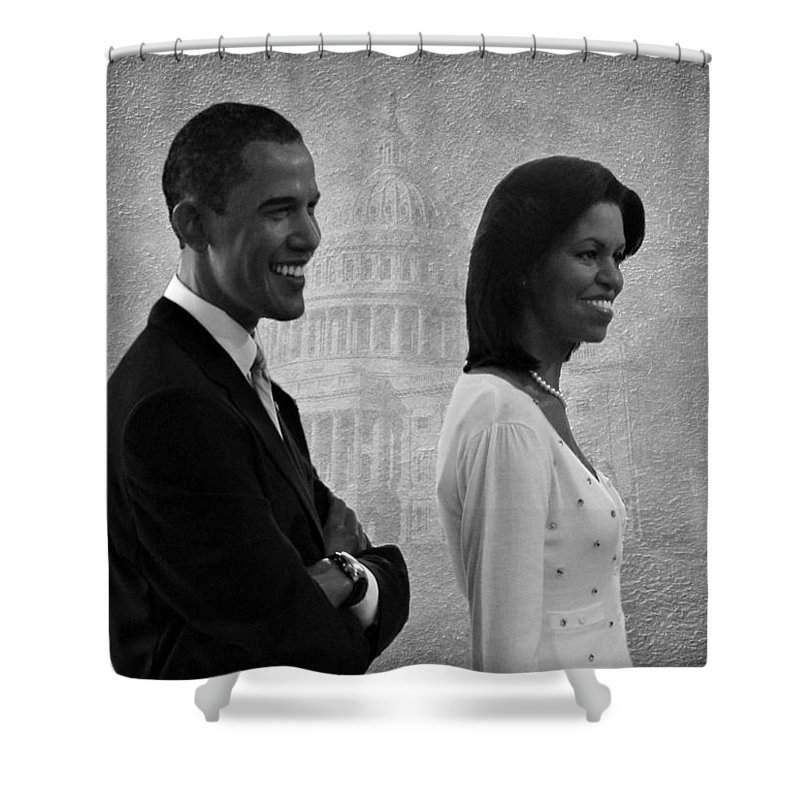 President Obama Shower Curtain featuring the photograph President Obama And First Lady Bw by David Dehner