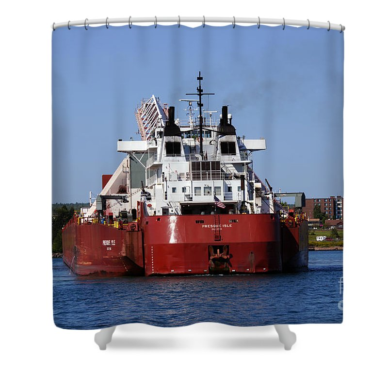 Ship Shower Curtain featuring the photograph Presque Isle Ship by Lori Tordsen