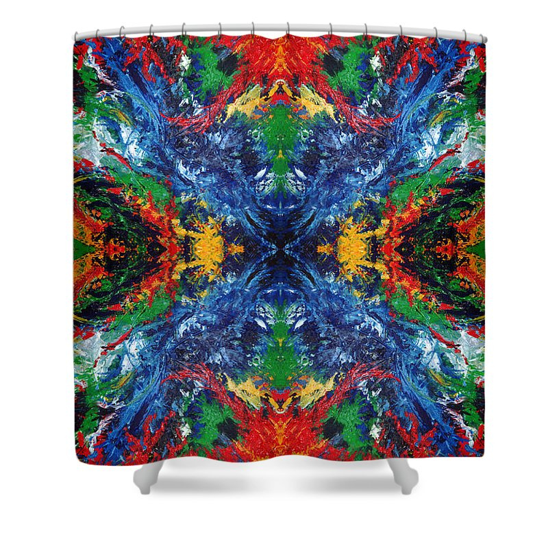 Design Shower Curtain featuring the painting Primary Abstract I Design by Nancy Mueller