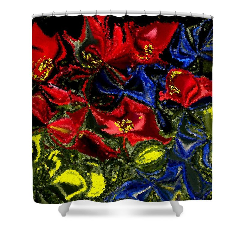 Garden Shower Curtain featuring the painting Primary Garden by Renate Nadi Wesley