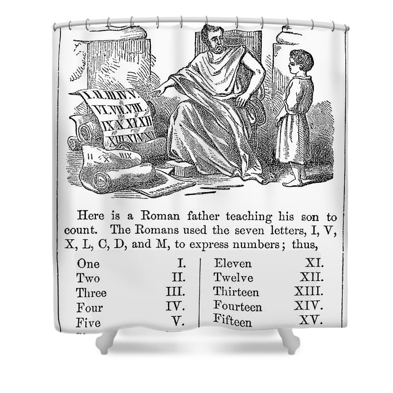 1845 Shower Curtain featuring the photograph Primer: Roman Numerals by Granger