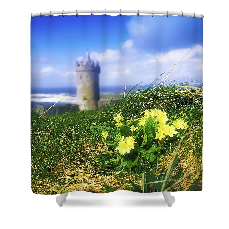 Architectural Heritage Shower Curtain featuring the photograph Primrose Flower In Foreground by The Irish Image Collection