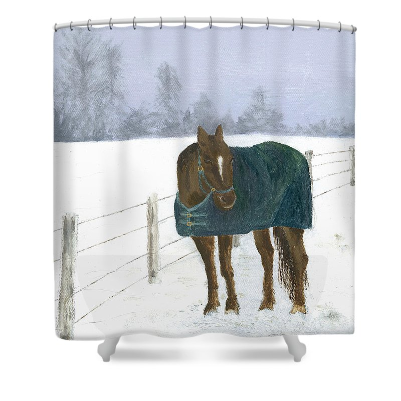 Horse Shower Curtain featuring the painting Prince by Laurel Best
