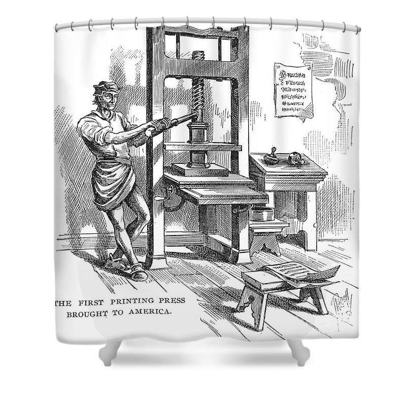 1639 Shower Curtain featuring the photograph Printing Press, 1639 by Granger