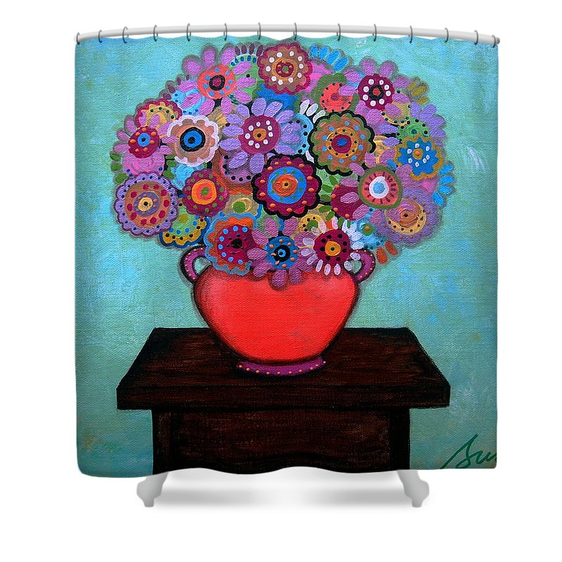 Flowers Shower Curtain featuring the painting Pristine Memories V by Pristine Cartera Turkus