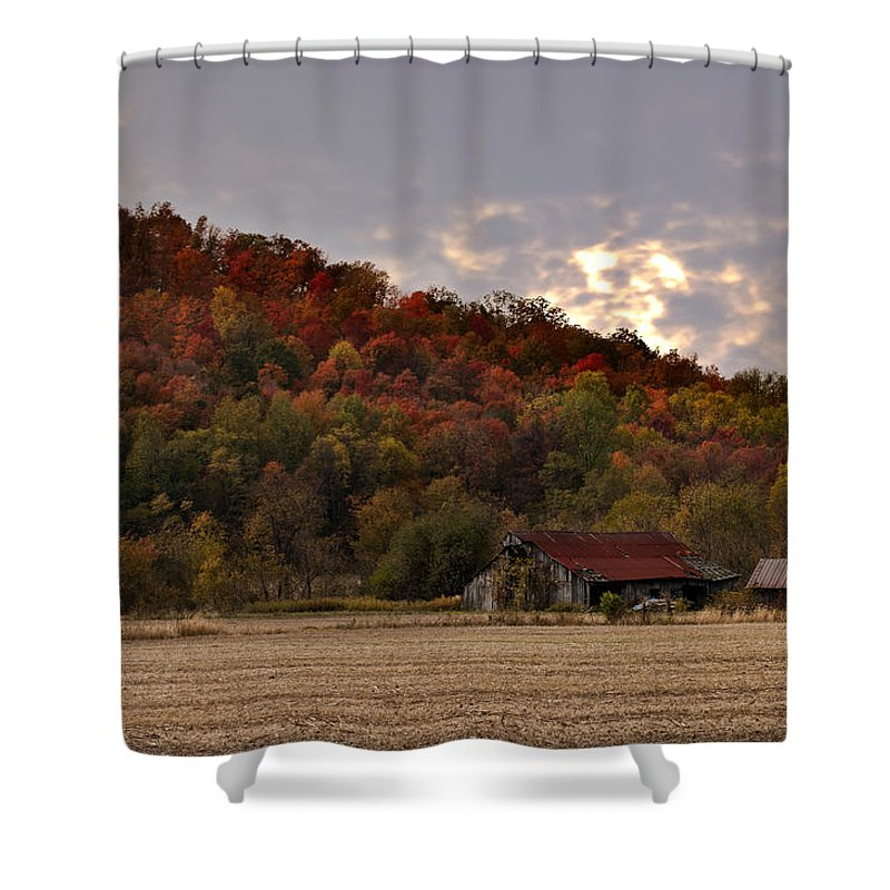 Barn Protected Shower Curtain featuring the photograph Protected By Hills Many Years by Randall Branham