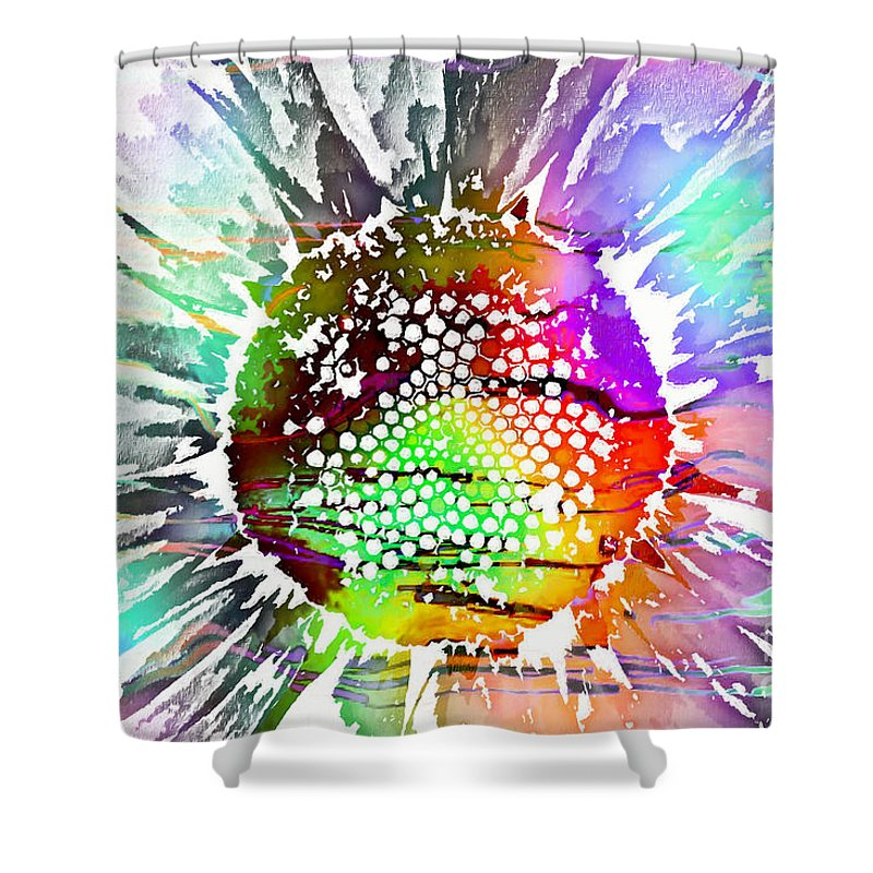 Psychedelic Daisy Shower Curtain featuring the digital art Psychedelic Daisy 2 by Barbara Griffin