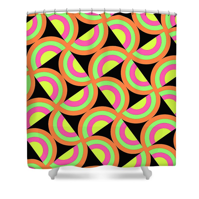 Psychedelic Squares (digital) By Louisa Knight (contemporary Artist) Shower Curtain featuring the digital art Psychedelic Squares by Louisa Knight