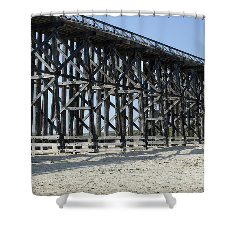 Structures Shower Curtain featuring the photograph Pudding Creek Bridge by Sandra Bronstein