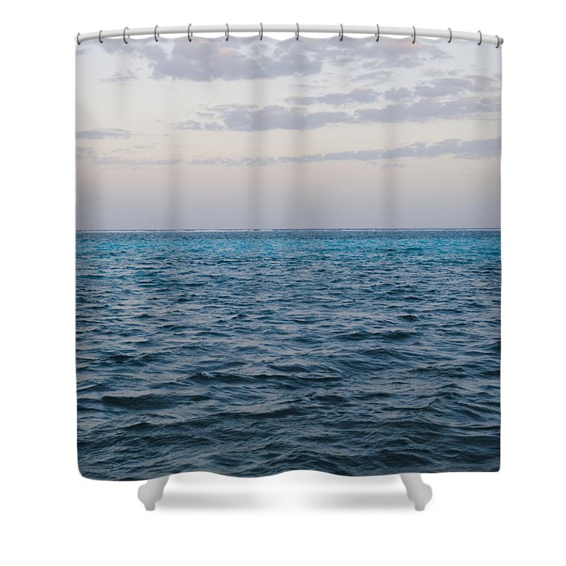 Ambergris Caye Shower Curtain featuring the photograph Puffy Clouds On Horizon With Caribbean by James Forte