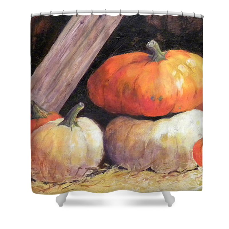 Pumpkins Shower Curtain featuring the painting Pumpkins In Barn by Hilda Vandergriff