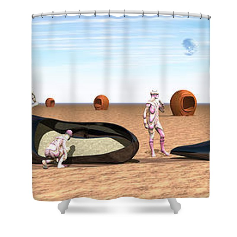 Dali Shower Curtain featuring the digital art Pumps by Nandor Volovo