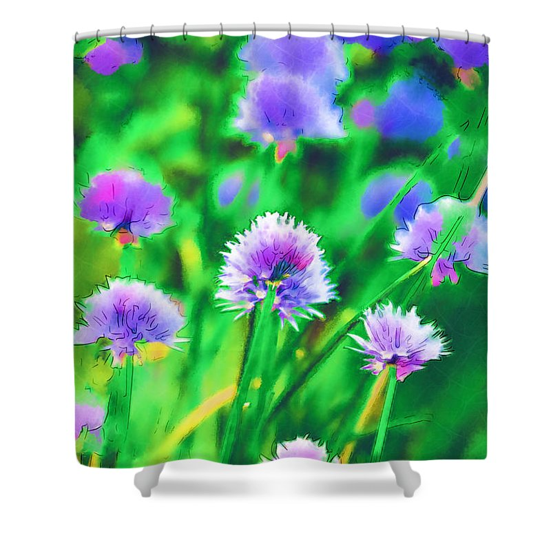 Chives Shower Curtain featuring the photograph Purple And Green Chive Watercolor by Kathy Clark