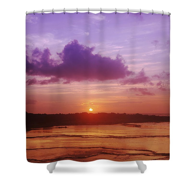 Beauty Shower Curtain Featuring The Photograph Purple And Orange Sunset By Vince Cavataio