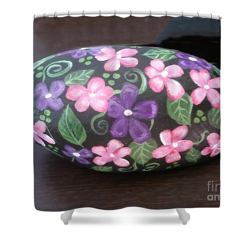 Rock Shower Curtain featuring the painting Purple And Pink Flowers by Monika Shepherdson