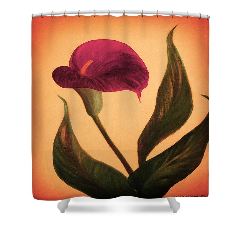 Flower Shower Curtain featuring the painting Purple Calla Lily - Square Painting by Gina De Gorna