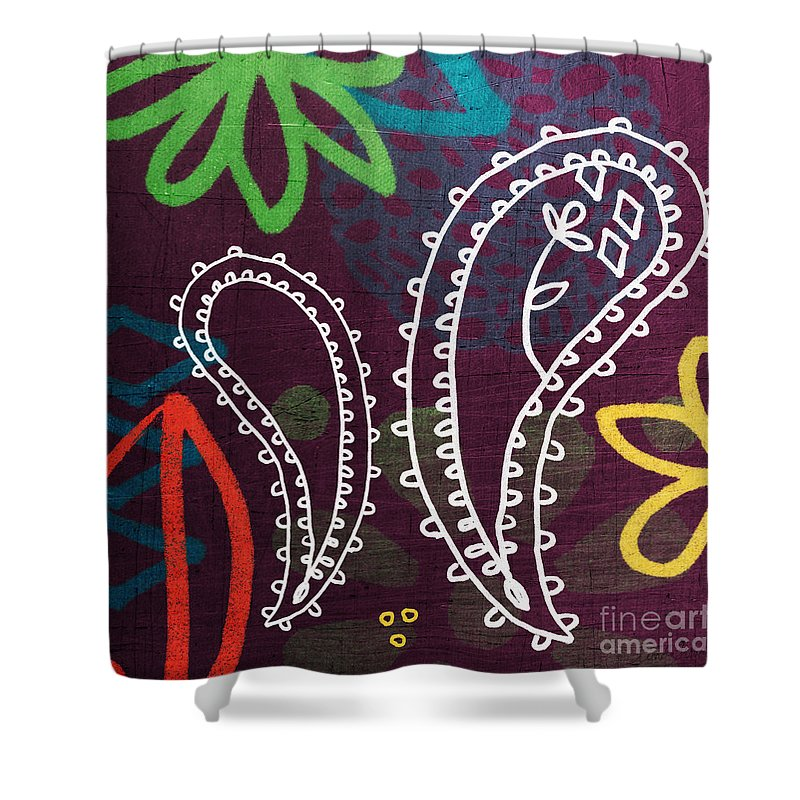 Paisley Shower Curtain Featuring The Painting Purple Garden By Linda Woods