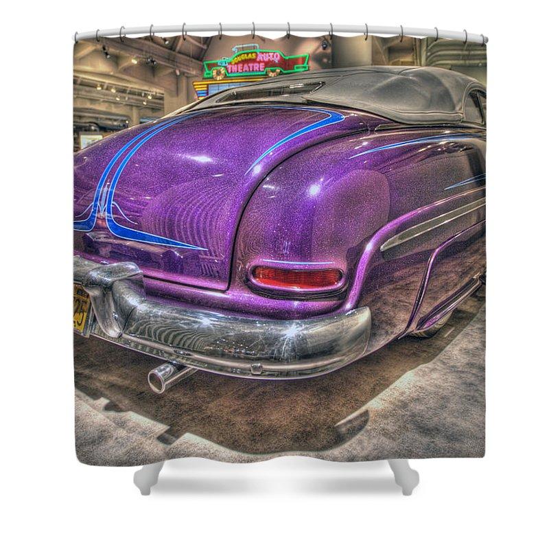 Shower Curtain featuring the photograph Purplre Car Dearborn Mi by Nicholas Grunas
