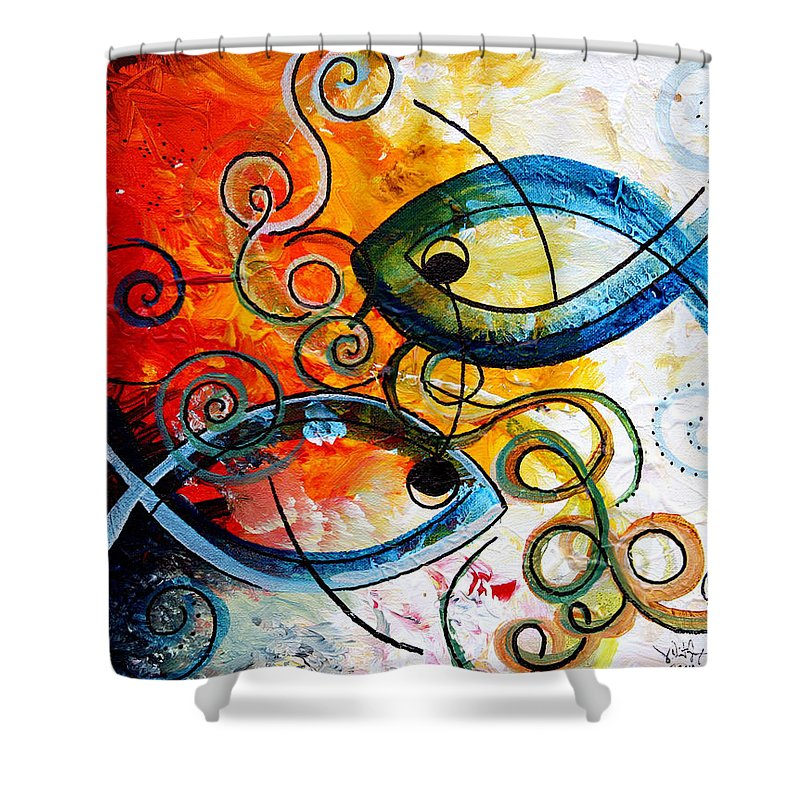 Fish Shower Curtain featuring the painting Purposeful Ichthus By Two by J Vincent Scarpace