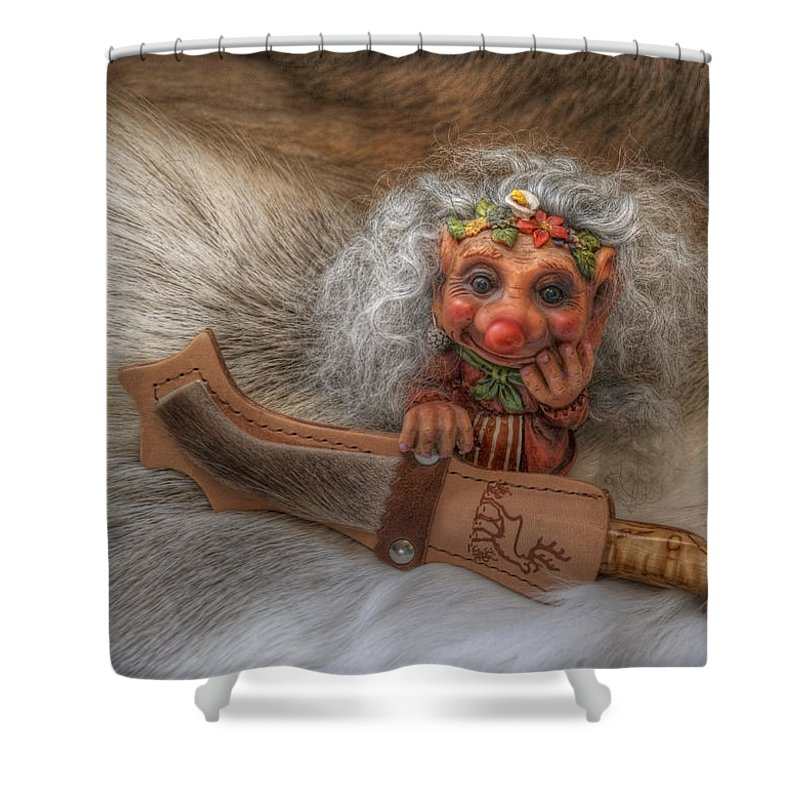 Troll Shower Curtain Featuring The Photograph Puukko By Merja Waters
