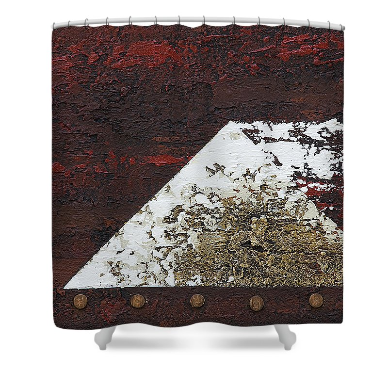 Art Shower Curtain featuring the mixed media Pyramid 1 by Mauro Celotti
