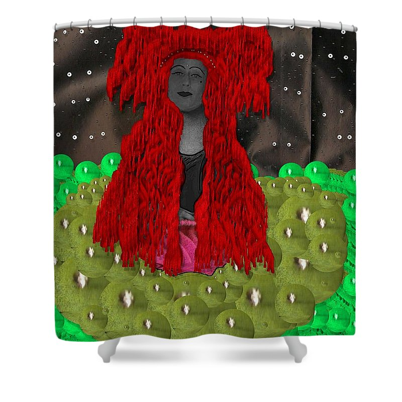 Woman Shower Curtain featuring the mixed media Queen Of The Huns by Pepita Selles