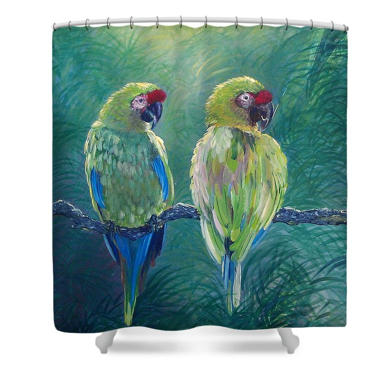 Parrots Shower Curtain featuring the painting Quite A Pair by Elisa Gabrielli