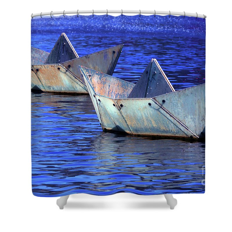 Boat Shower Curtain featuring the photograph Race Up Stream by Stephen Mitchell