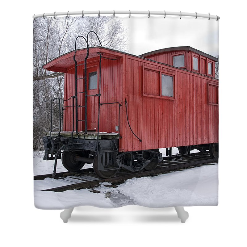 Art Shower Curtain featuring the photograph Railroad Train Red Caboose by Randall Nyhof