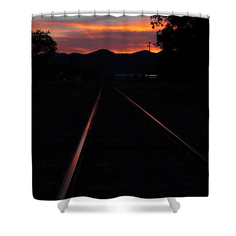 Rogue Valley Shower Curtain featuring the photograph Rails Into The Rogue Sunset by Mick Anderson