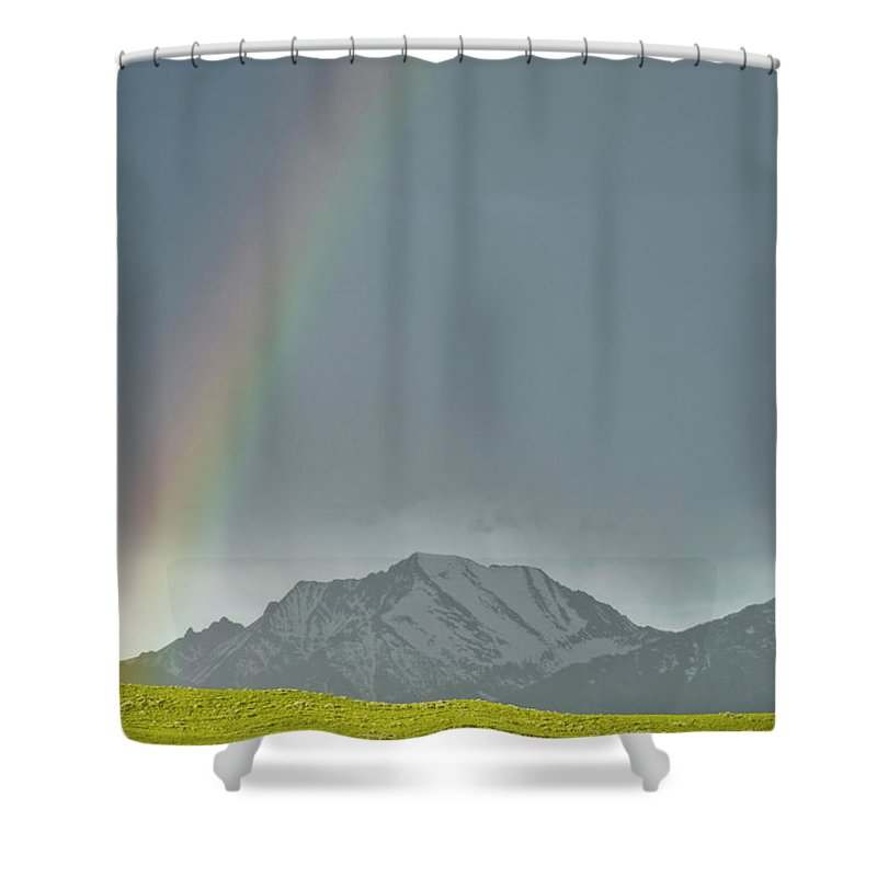 Americas Shower Curtain featuring the photograph Rainbow Against The Crazy's by Roderick Bley