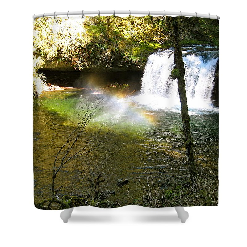 Rainbow Shower Curtain featuring the photograph Rainbow In The Mist by Linda Hutchins