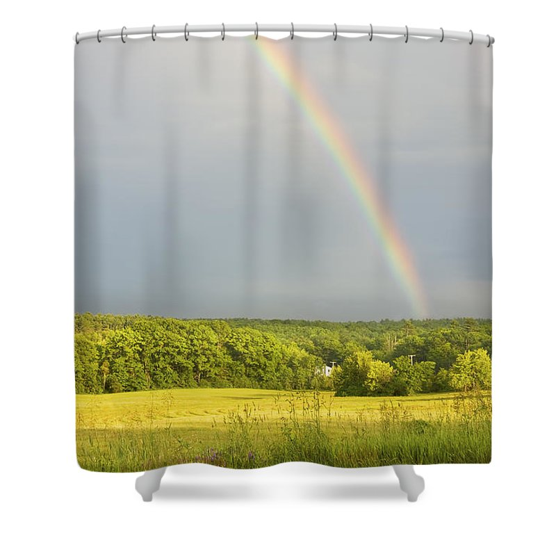 Rainbow Shower Curtain featuring the photograph Rainbow Over Hay Field In Maine by Keith Webber Jr