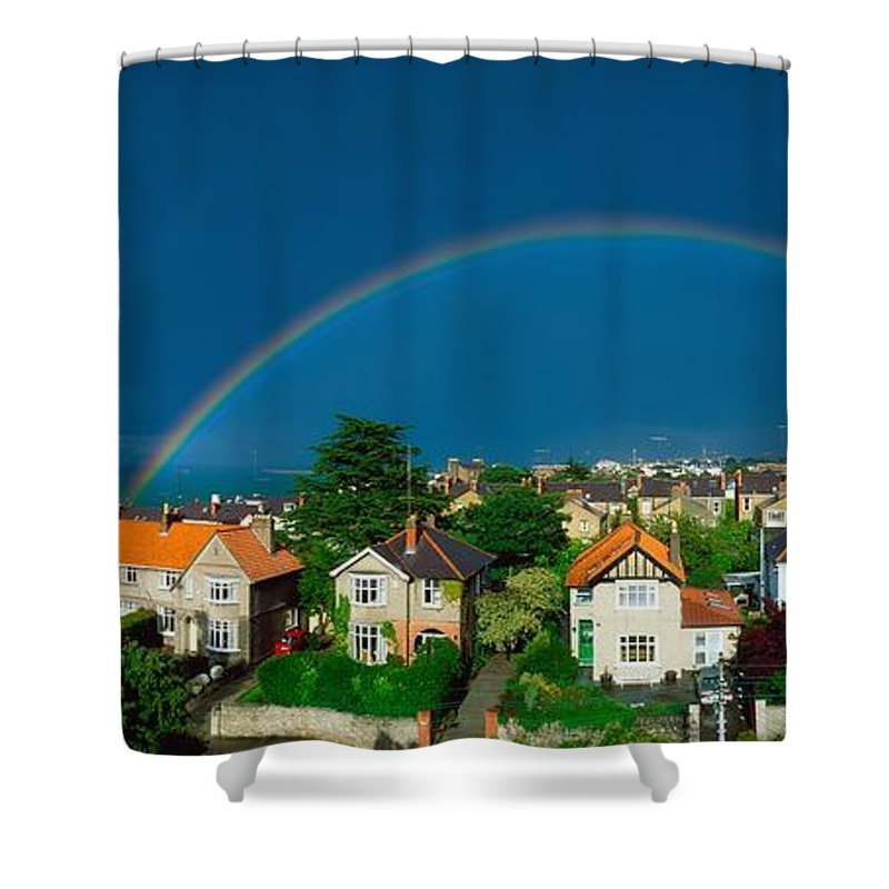Atmosphere Shower Curtain featuring the photograph Rainbow Over Housing, Monkstown, Co by The Irish Image Collection