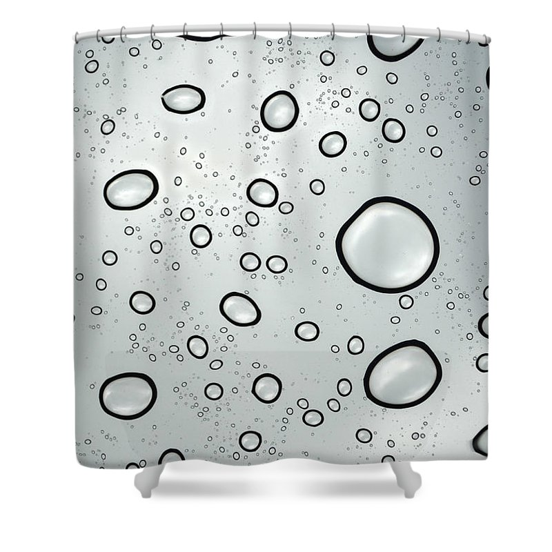 Raindrops Shower Curtain Featuring The Photograph Raindrop Refrations Of Sky By Sandi OReilly