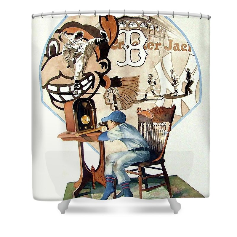 Baseball Shower Curtain featuring the painting Raised On The Radio 3 by Greg and Linda Halom