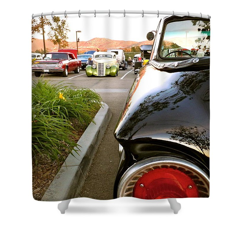 Ford Shower Curtain featuring the photograph Ranchero Rocket by Customikes Fun Photography and Film Aka K Mikael Wallin