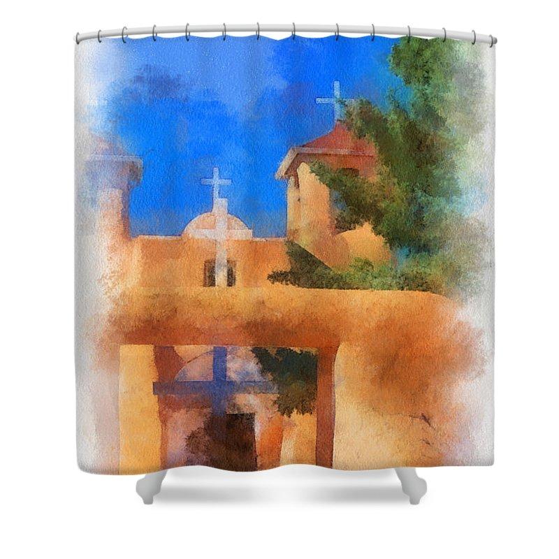 Ranchos Shower Curtain featuring the digital art Ranchos Church Gate - Aquarell by Charles Muhle