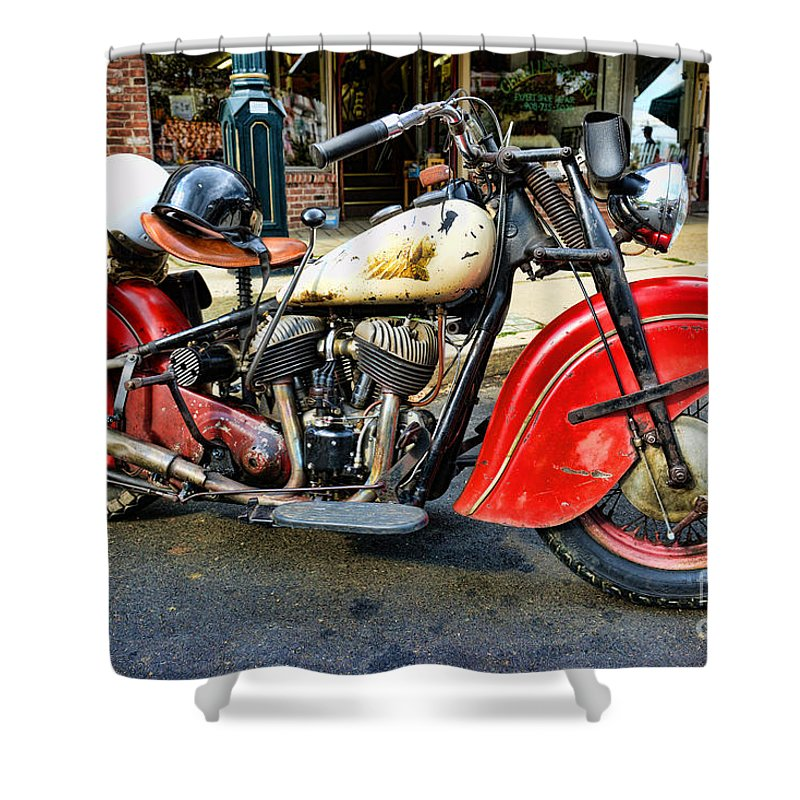 Paul Ward Shower Curtain featuring the photograph Rare Indian Motorcycle by Paul Ward