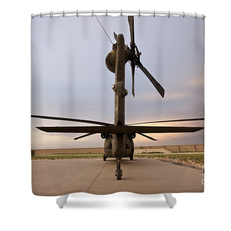 Blackhawk Shower Curtain featuring the photograph Rear View Of A Uh-60l Black Hawk by Terry Moore