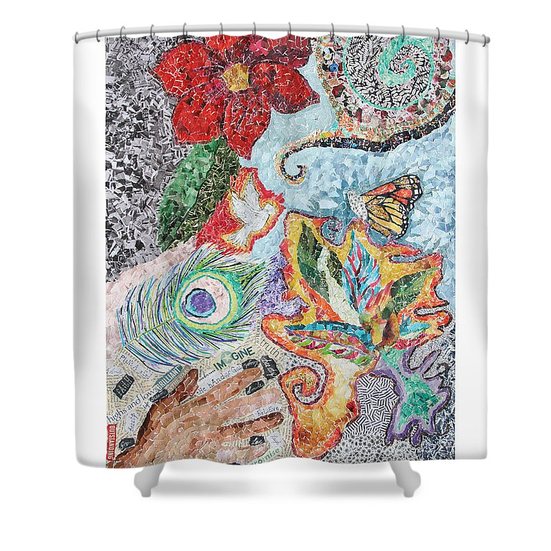 Flower Shower Curtain featuring the mixed media Rebirth Of The Spirit by Brenda Brolly