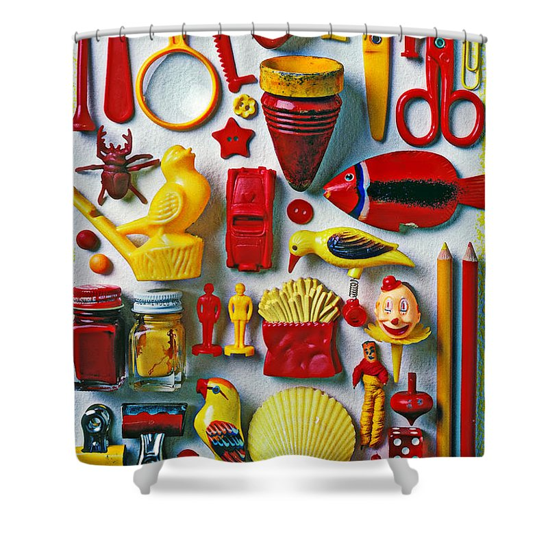 Red And Yellow Objects Shower Curtain For Sale By Garry Gay