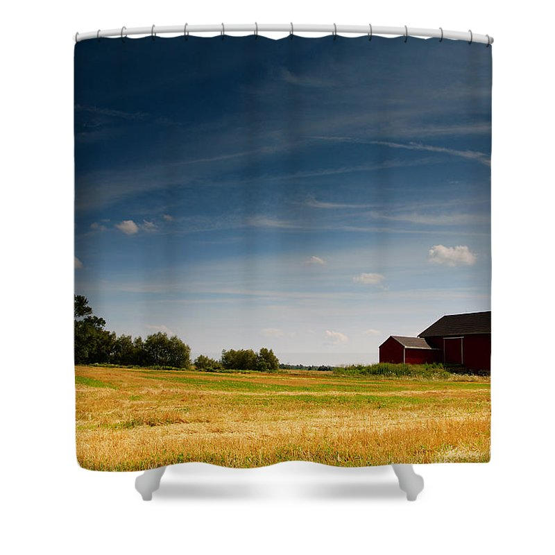 Barn Shower Curtain featuring the photograph Red Barn by Cale Best