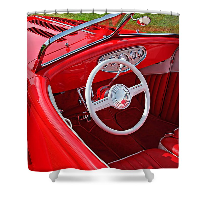 Red Classic Car Shower Curtain Featuring The Photograph By Garry Gay