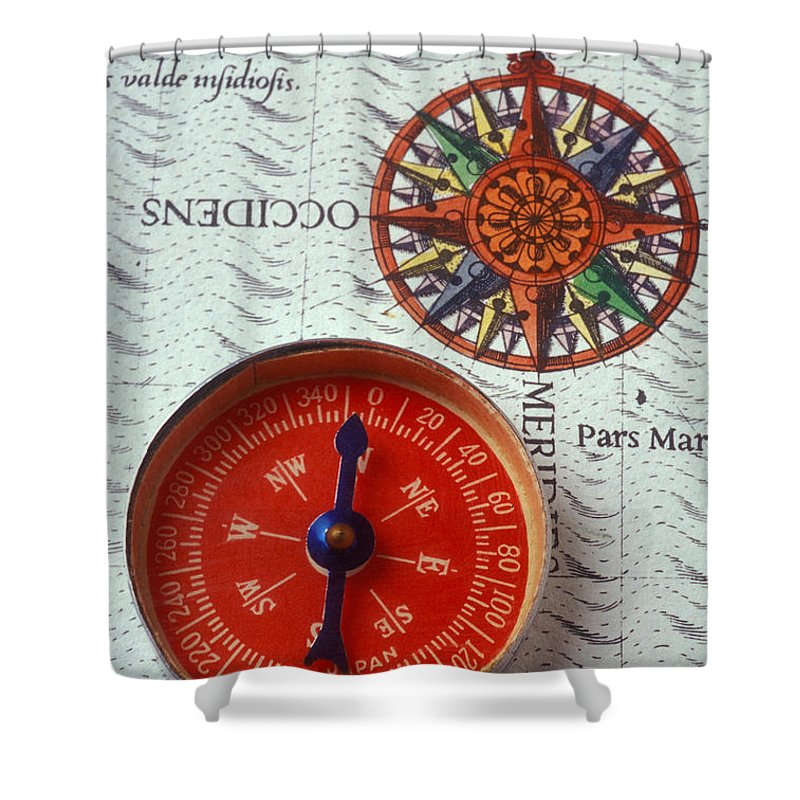 Red Compass Shower Curtain featuring the photograph Red Compass And Rose Compass by Garry Gay