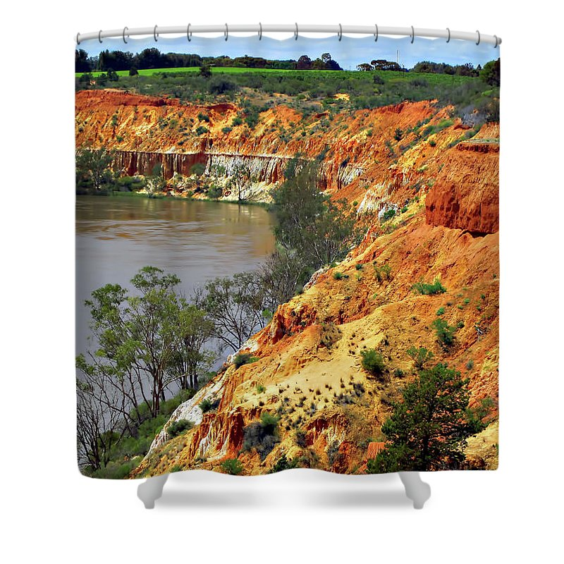 Red Shower Curtain featuring the photograph Red Eroded Soil by Douglas Barnard