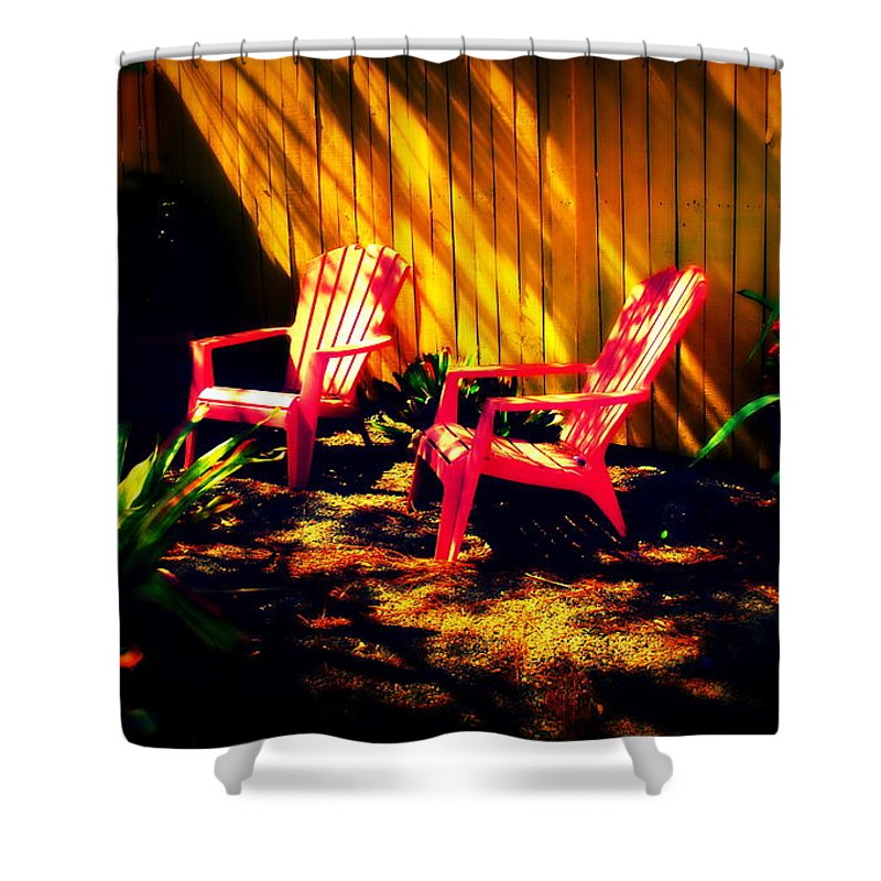 Red Shower Curtain featuring the photograph Red Garden Chairs by Susanne Van Hulst