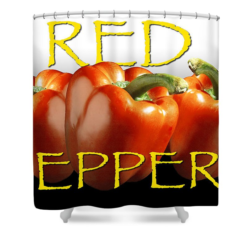 Art Shower Curtain featuring the photograph Red Peppers On White And Black by Randall Nyhof